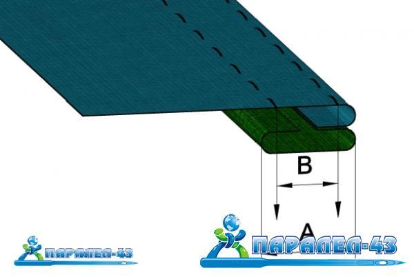 схема за продукт Фуния за едновременно подгъване на горна мостра и прикачване на лента отдолу