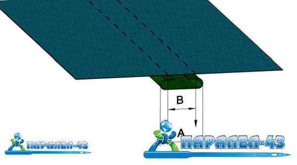 схема за продукт Фуния за прикачване на лента за двуиглови машини