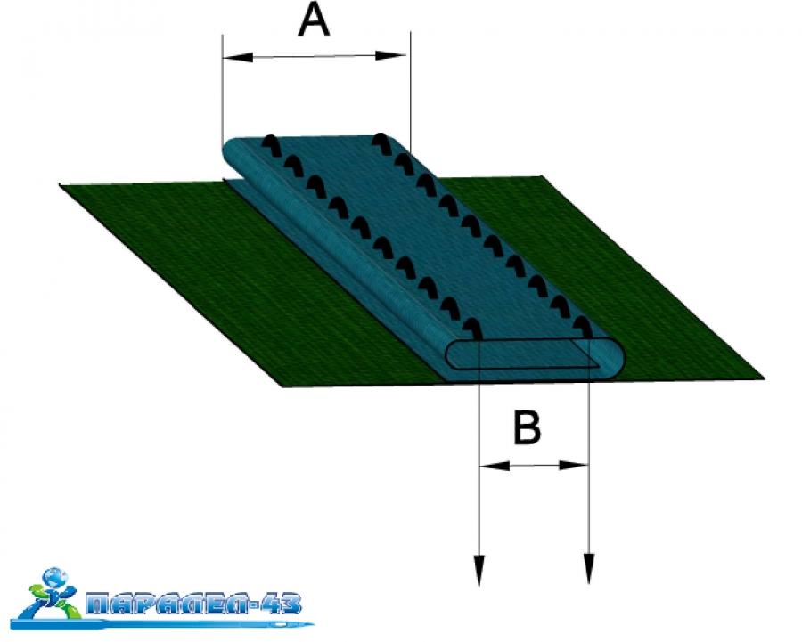 схема за продукт Краче за двуиглова машина с фуния за подаване и прегъване на лентата