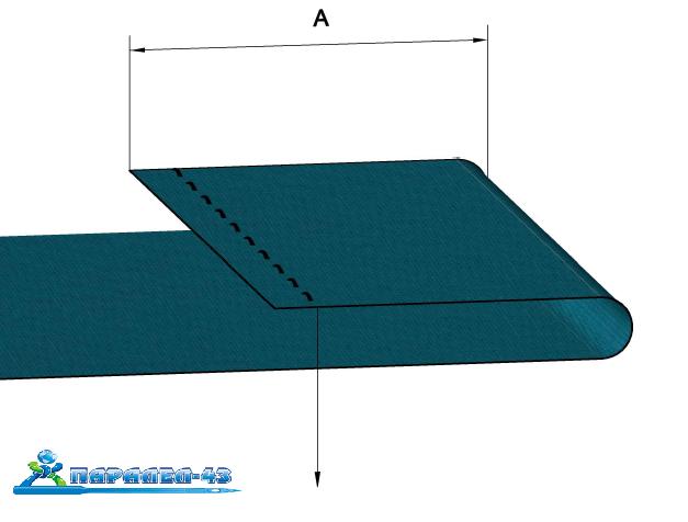 схема за продукт Фуния за единичен подгъв за права машина